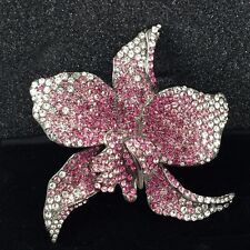 Pink Orchid Rhinestone Brooch Pin Real Collectibles by Adrienne Cubic Zirconia