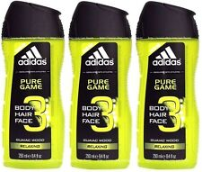 3x ADIDAS Pure GAME BODY HAIR FACE Wash Shower GEL Guaiac Wood RELAXING New !