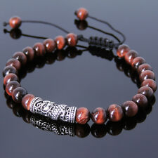 Men's Braided Bracelet 6mm Red Tiger Eye Sterling Silver Dragon Charm DIY-K 784M