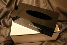 CHANEL VIP Gift Black Tissue Holder Signature Makeup Organizer Acrylic Box NEW