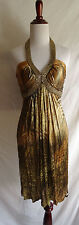 NWT Muse for Boston Proper 8 Snakeskin Animal Print Shimmer Gold Chain Dress