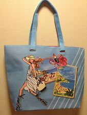 Lancome GWP Tote Bag Medium Size Polyester w/Lancome Signature Print Blue #3 New