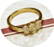 Vintage Opal Ring. Sterling Silver .925  Gold Vermeil Ethopian Welo Opals. Sz. 6