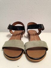 Gaimo Khaki Low Wedge Sandals Espadrilles suede and patent leather