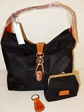 New Dooney & Bourke Nylon Hobo with Logo Lock and Key Fob in Black