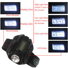 Rechargeable Tactical CREE LED Display Wrist Watch Flashlight Torch Lamp compass