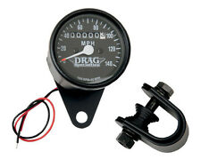 ★ Drag Specialties Mini Speedometer • Black / Black Face • 2240:60 • 2210-0253 ★