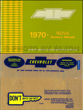 1970 Chevrolet Nova or SS Owner Manual with Envelope 70 Chevy Owner Guide Book