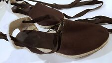 "EMMA Brown fabric Shoes Women Heels 2.5"" Size 10 Wedges Plattform jute cabuya"