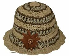Jeanne Simmons Women's Summer Beach Cloche Flower Bucket Hat Tan Brown