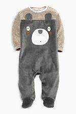 ВNWT NEXT Babygrows & Playsuits • Grey Velour Bear Sleepsuit • Cotton-Rich •3-6m