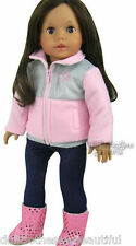 """Pink/Gray Jacket + Jeggings Outfit for 18"""" American Girl Doll Clothes"""