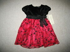 "NEW ""BURGUNDY VELVET ROSE"" Dress Girls Clothes 2T Christmas Holiday Toddler 1 pc"