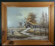 Country Cabin Rustic Landscape Signed Roman - Large Original Framed Oil Painting