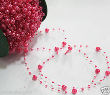 Party Wedding Decor Garland Acrylic pearl Bead Strand curtain 1yd dark pink