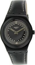 Swatch Women's Irony YLB1002 Black Leather Swiss Quartz Watch