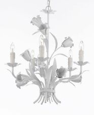 "White Wrought Iron Floral Chandelier Crystal Flower Chandeliers Lighting H19""W23"
