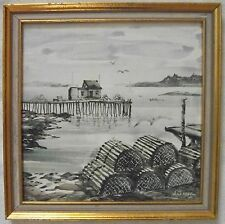 fishing village painting on tile by Anatole