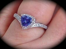 'CERTIFIED' EXQUISITE AA TANZANITE & GENUINE DIAMOND PREMIUM QUALITY SILVER RING