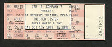 1987 Twisted Sister Great White TNT Unused Concert Ticket Orpheum Minneapolis