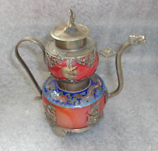 fine antique Chinese agate glass silver cloisonne tea pot