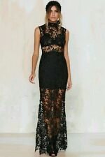 Nasty Gal Lace Up Your Life Maxi Dress Gown Cameo Neck Sheer Crochet Black sz M
