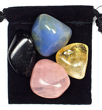 ALZHEIMER'S / DEMENTIA Tumbled Crystal Healing Set = 4 Stones + Pouch + Card