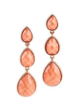 AMRITA SINGH Coral Resin Gold Tone Three Tier Drop Dangle Earrings