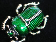 GREEN GOLD CRAWLING SLUG SNAIL INSECT JUNE BUG STAG BEETLE PIN BROOCH JEWELRY