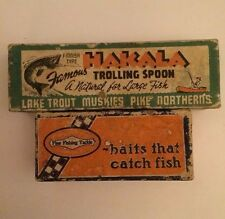 Six Vintage Empty Fishing Lure Boxes
