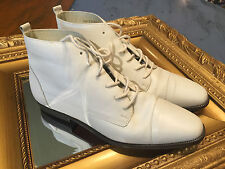 CONNIE VINTAGE WHITE LEATHER Boots 8 M LEATHER GRANNY LACE UP GOTH GRUNGE EUC