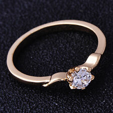 Classy Womens Ring 5-Fingers Pattern Clear CZ Yellow Gold Filled Size 6