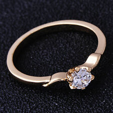 Rose Gold Filled Cubic Zirconia womens Round Lady rings fashion jewelery Size 6