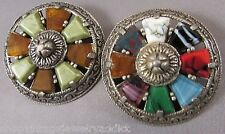 Vintage Glass Agate Scottish Miracle Brooch TWO Pin Lot