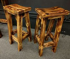 Rustic Fire Scorched Reclaimed Wood Bar Stools - Saddle Seat (Set of 2)
