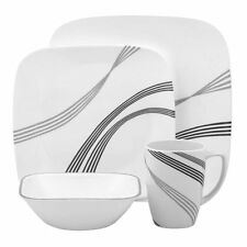 Corelle Square Urban Arc 16pc Vajilla de sopa de Taza Recipiente de placa