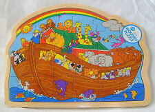 NEW CHILDRENS WOODEN COLOURFUL NOAH'S ARK 23 PIECE JIGSAW PUZZLE IN FRAME 62570