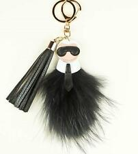 Fashion Key Chain Ring Black & Gold Bag Charm Karlito Monster Karl Doll Pom Fur
