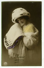 c 1914 French Glamour PRETTY YOUNG LADY Fashion Beauty photo postcard