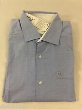 Lacoste Men's Shirt Slim Fit Long Sleeve Fjord Blue Square Dots EU 42 US L