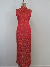 C & D Quality Red/Beige Asian Print Kimono Style Dress-Size 8/10