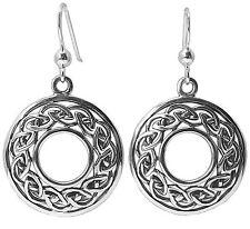Pair of CELTIC KNOT Earrings 925 Sterling SILVER 37mm Drop Ladies Hoop