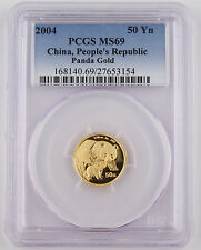 "2004 China 50 Yuan 1/10 Troy Oz 999 Gold Panda Coin PCGS MS69 GEM ""Better Date"""