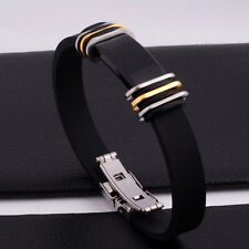 "Unisex Men Women's Stainless Steel Rubber Silicone Bracelet 8.5"" G12"