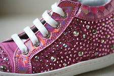 MISSOURI BABY PINK LEATHER CRYSTAL SNEAKERS EU 25 UK 8 US 9