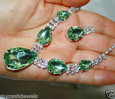 Green Rhinestone Crystal Choker Bridemaids Necklace Earring Set Pageant Prom
