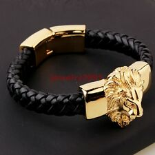 Men's Black Genuine Leather Bracelet Gold Plate Stainless Steel Animal Lion King