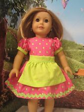 "homemade 18"" american girl/madame alexander 2 piece dress/apron doll clothes"