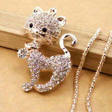 Gold-plated Mosaic crystal Lovely cat chain Fashion charm long necklace DL515