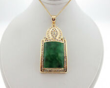 Vintage Estate Green Jade 1.25cts Diamonds Solid 14k Yellow Gold Large Pendant